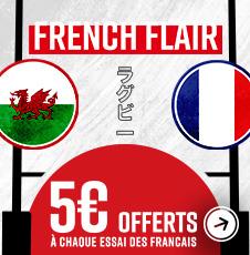 5€ offerts à chaque essai marqué par la France