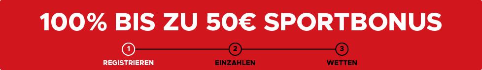 100% bis zu 50€ Bonus!